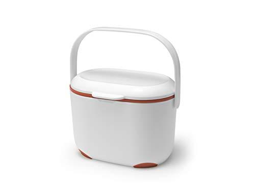Addis 518327 2,5 Liter Küche Indoor Kompost Lebensmittelabfallbehälter Mülleimer Mülleimer weiß flammenorange 2,5 l