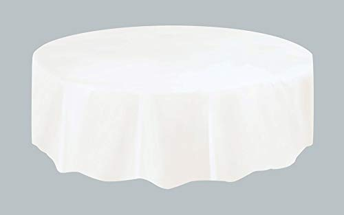 Unique Party Plastic Tablecover Tovaglia Plastificata Rotonda, Bianco