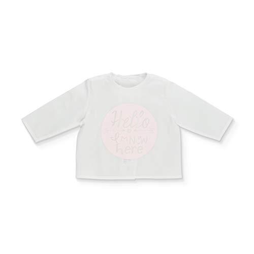 Minutus Primera Puesta Camiseta Bebé Batista Hello, 100% Algodón (Rosa, 0-1 mes)