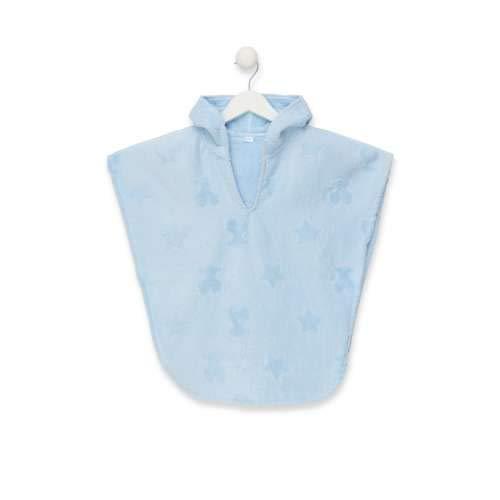 TOUS BABY - Poncho con Capucha de Rizo para tu bebé. Color Celeste ( Talla M/de 2 a 3 años)