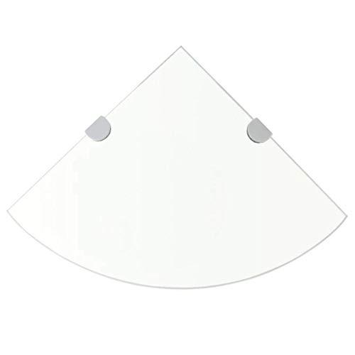 vidaXL Eckregal mit Halterungen Glasboden Glasplatte Glas Transparent 35 x 35 cm