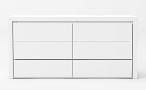 Limari Home Seut Collection Modern Bedroom High Gloss Double Dresser with 6 Soft Close Drawers, White