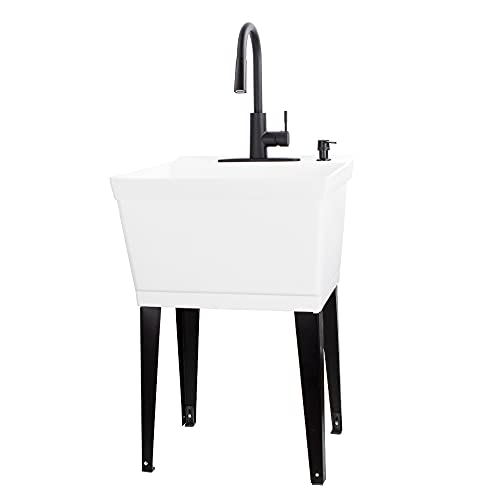 VETTA White Utility Sink Laundry Tub With High Arc Black Kitchen Faucet By VETTA - Pull Down Sprayer...