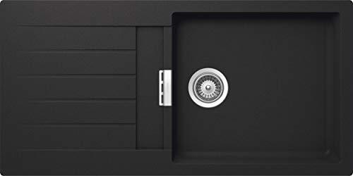 SCHOCK Küchenspüle 100 x 50 cm Primus D-100L Onyx - CRISTALITE dunkelgraue Granitspüle ab 45 cm Unterschrank-Breite