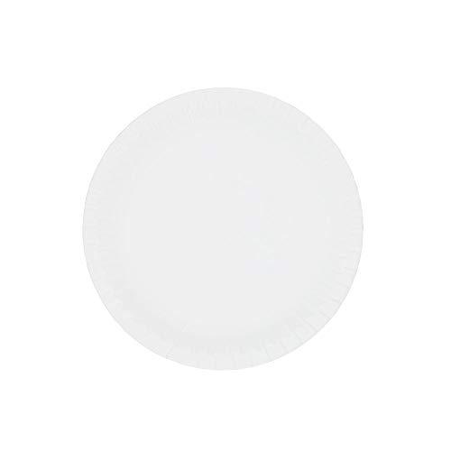 BIOZOYG Papieren borden wit rond Ø 23 cm I Imbisbord van verse vezel voor friet cake curryworst etc. I recyclebaar - milieuvriendelijk - biologisch afbreekbaar I borden van karton I 100 stuks