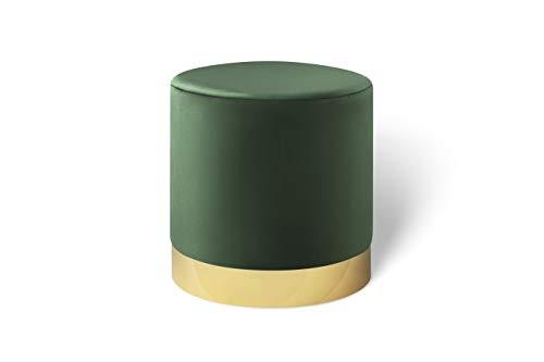 LIFA LIVING Runder Samt Pouf in dunkelgrün Ø 38 cm, Zylinderförmiger Samthocker mit goldenem Detail, Fußhocker aus Samt in grün, Sitzhocker flaschengrün