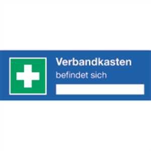 Aufkleber Verbandkasten befindet sich gem. ASR A1.3/ DIN 7010, Folie selbstklebend 4 x 12 cm (Rettungszeichen) praxisbewährt, wetterfest