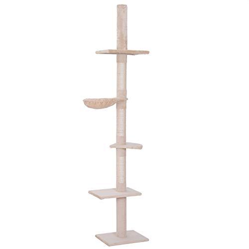 PawHut Árbol para gatos Torre Rascador de Gato de 5 Niveles Fijado al Techo Ajustable en Altura con Múltiples Plataformas Cubierta de Felpa Suave 40x34x230-260 cm Beige