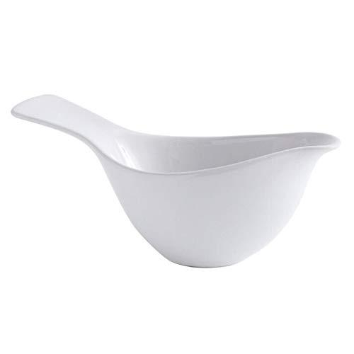 YAOLUU Jarra para servir salsa con plato de cerámica blanco con asa, para fiestas familiares, uso comercial, gran capacidad, salsa y salsa (tamaño: S)