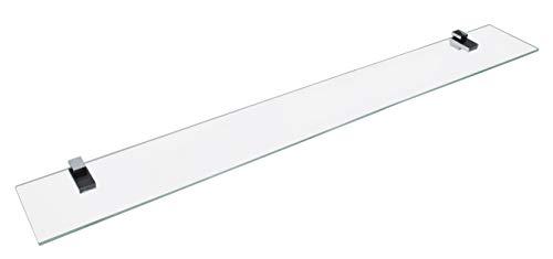 FACKELMANN Glasablage 100 cm/Wandregal für Badaccessoires/Maße (B x T): ca. 100 x 12 cm/Wandablage mit 6 mm Stärke/hochwertiges Glasregal mit Halterungen/Wandregal fürs Bad/Badregal fürs WC