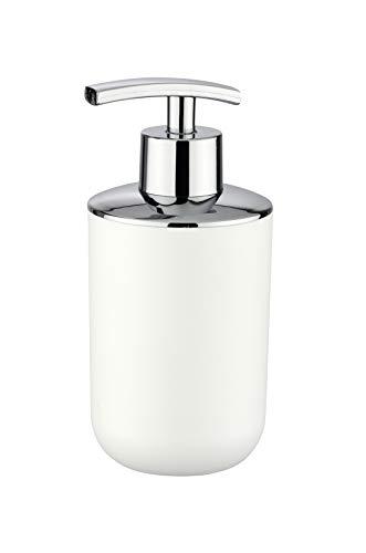 WENKO Dosificador jabón Brasil blanco - a prueba de rotura Capacidad: 0.32 l, Plástico (TPE), 7.3 x 16.5 x 9 cm, Blanco