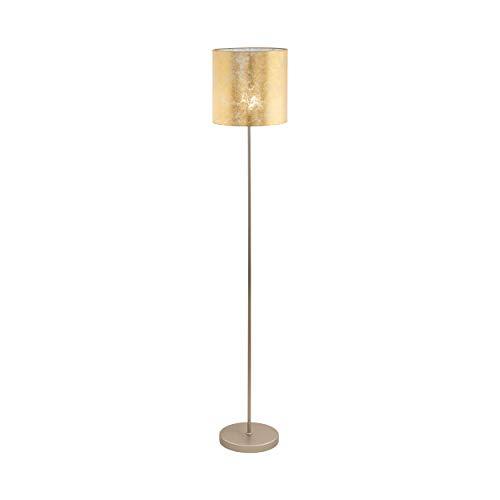 EGLO Stehlampe Viserbella, 1 flammige Stehleuchte Vintage, Standleuchte aus Stahl und Textil, Wohnzimmerlampe in champagner, gold, Lampe mit Tritt-Schalter, E27 Fassung