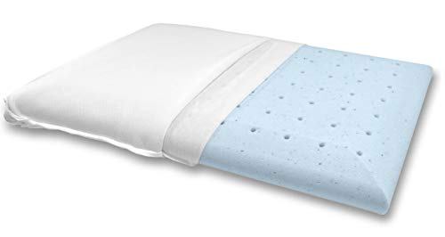 Bluewave Bedding Ultra Slim Gel Memory Foam Pillow for Stomach and Back Sleepers - Thin and Flat...