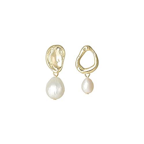 SALAN Pendientes De Perlas De Agua Dulce Colgantes Barrocos para Mujer Pendientes Colgantes Asimétricos Pendientes Pequeños De Gota Únicos Declaración