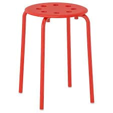 Ikea Sgabello, Interamente in Metallo Resistente smaltato Rosso, Nero,o Bianco
