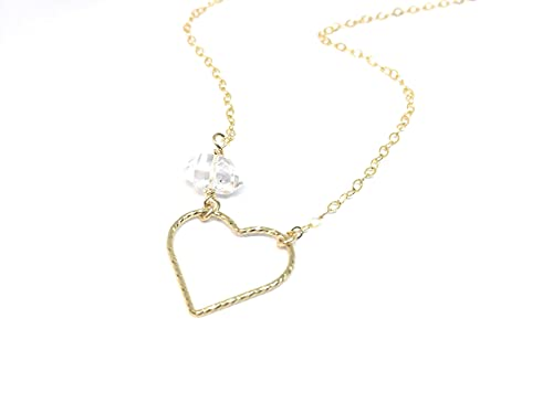 Herkimer Diamond Quartz Crystal Necklace, Heart Link Charm, Gold Filled, April Birthstone