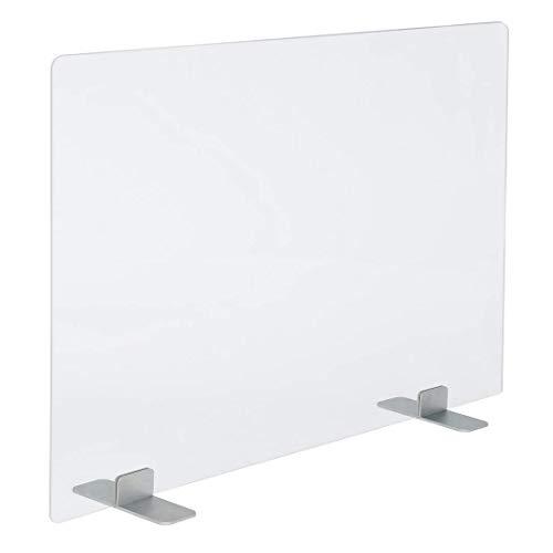 PLEXIDIRECT Spuckschutz Plexiglas Schutzwand Thekenaufsatz Trennwand für Büro Schreibtisch Acrylglas, LEMI Edelstahl, 75 x 75 cm (BxH)