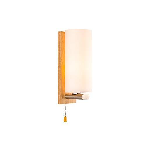 LVYI eenvoudige moderne slaapkamer bedlampje balkon bar Aisle identity eiken massief hout, hout, glazen wandlamp geschikt voor keuken woonkamer eetkamer slaapkamer