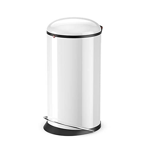Hailo Harmony L Mülleimer | 20 Liter | Soft Close Deckel Absenkautomatik | Stahlblech | breite Metall-Fußreling | Müllbeutel-Klemmringsystem | Tragegriff | Mülleimer rund | Made in DE | weiß