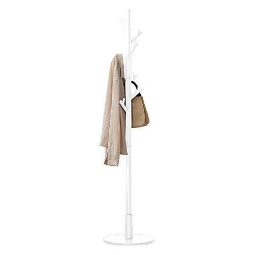 OFFA Percha, perchero de pie libre con gancho de cornamenta, árbol de madera, soporte de entrada para ropa, sombreros, bolsos, paraguas, chasis estable, fácil instalación, blanco (color: blanco)