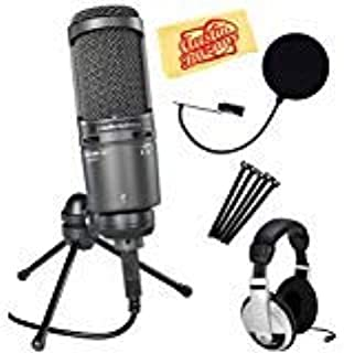 Audio-Technica AT2020USB+ Cardioid Condenser USB Microphone Bundle with Headphones, Pop Filter, Cable Ties, and Austin Baz...