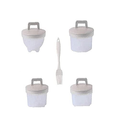 Dingq 4-Teiliges Set Eierkocher, Spiegeleiform, Babynahrungsergänzung, Küche Haushalt Eierkocher, Antihaftbecher, Frühstückseierkocher, Eierkocher grau