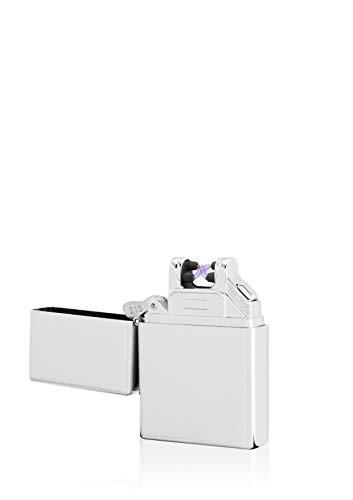 TESLA Lighter TESLA Lighter T03 Lichtbogen-Feuerzeug, elektronisches USB Feuerzeug, Double-Arc Lighter, wiederaufladbar, Silber Silber