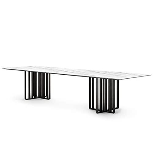 Vobajf Mesa de comedor italiana de losa de roca moderna y minimalista rectangular para el hogar posmoderna mesa de comedor (color: blanco, tamaño: 140 x 80 x 75 cm)