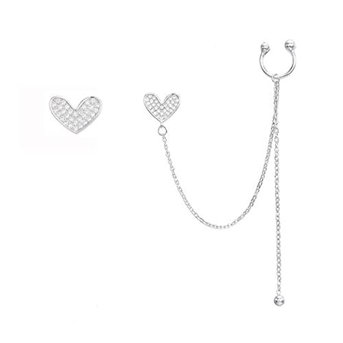 SLUYNZ Pendientes de plata de ley 925 con forma de corazón para mujeres, adolescentes, niñas, pendientes de corazón asimétricos
