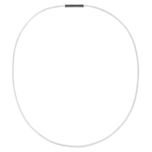 AURORIS Echtleder Kette 2 mm Farbe: weiß, mit Tunnel-Drehverschluss aus Edelstahl, Länge wählbar / 45 cm