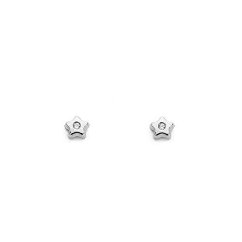 Orecchini per Bambini stella - oro bianco 18k (750)