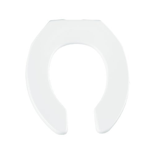 Bemis 955SSC000 Open Front Less Cover Round Toilet Seat with Self Sustaining Check Hinge, White by Bemis