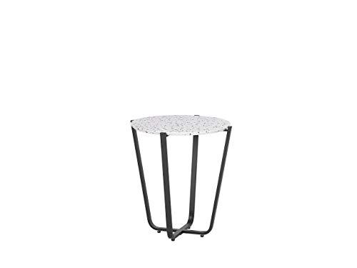Runder, moderner Beistelltisch Terrazzo Optik/schwarz Valera