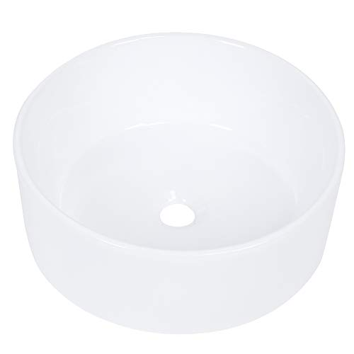 Dioche - Lavabo redondo de cerámica en la parte superior del lavabo,...