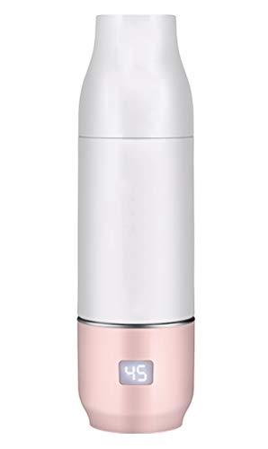 LTOOTA USB Tragbar Baby Flaschenwärmer Eingebaute Lithium Batterie, Rostfreier Stahl Reise Flasche Wärmer Elektrisch Baby Milch Wärmer Multifunktional Essen Wärmer,Rosa