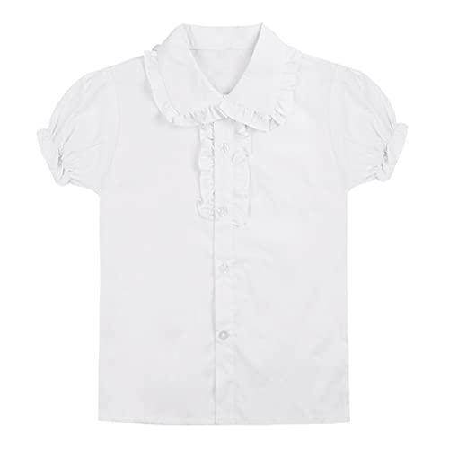 CHICTRY Baby Große Mädchen Schuluniform Oxford Kurz Puff Ärmel Bluse Dirndl Bluse Trachtenbluse T-Shirt mit Rüsche Gr. 104-158 Weiß 110-116
