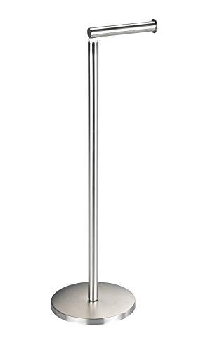 Wenko Stand Toilettenpapierhalter mit integriertem Toilettenpapier Ersatzrollenhalter, aus rostfreiem Edelstahl, 21 x 55 x 17 cm, matt