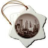 Pattebom - Adornos de Navidad de cerámica con diseño de Copo de Nieve de Minneapolis de Vista Vintage, Recuerdo de 2018 para Decoraciones de Navidad, decoración de árbol, 3 Pulgadas