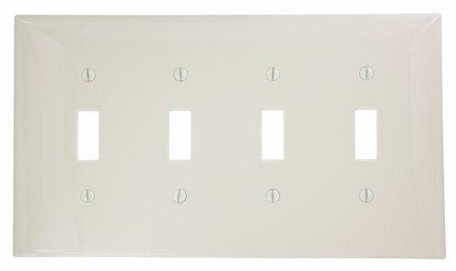 Leviton - Placa de pared para interruptor de dispositivo de 4 interruptores, color almendra, PJ4-A
