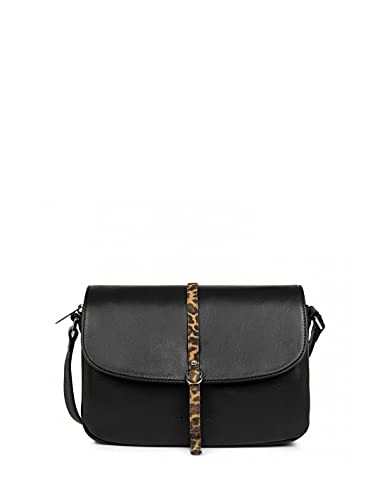 Lancster 45325 - Bolso de piel con diseño de leopardo, 25 x 18 x 8 cm, color negro