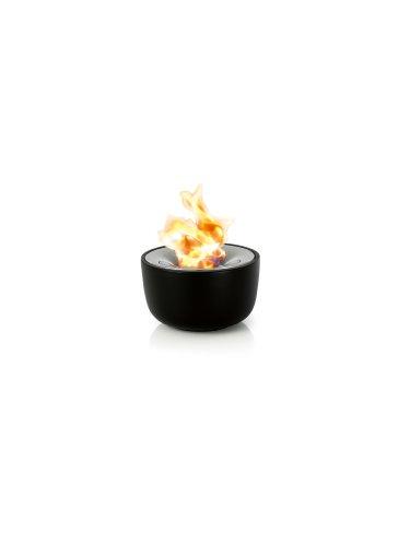 blomus -FUOCO- Gelfeuerstelle M aus Keramik, Edelstahleinsatz, Tischfeuer inkl Löscher, wiederbefüllbare Feuerschale, exklusive Optik, Outdoornutzung (H / B / T: 11 x 18,5 x 18,5 cm, Schwarz, 65078)