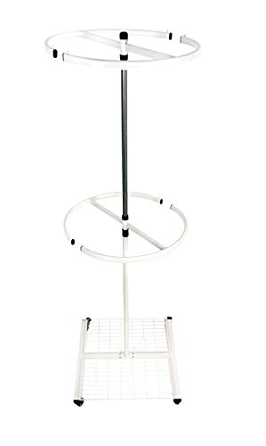 NEUN WELTEN Stender Rotante Ø 60 cm Appendiabiti Rotondo - con Ruote Supporto Tondo per Abiti con Due Barre e Uno ripiano Cesto (Grande)