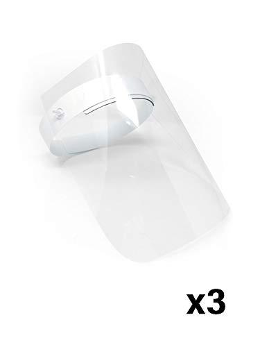 Pantalla Protección Facial Transparente Pack de 3 Unidades - Pantalla Protectora Cara, Protector Facial, Visera Protectora - Visera Ajustable, Reutilizable, Ligera, Antivaho y Elevable