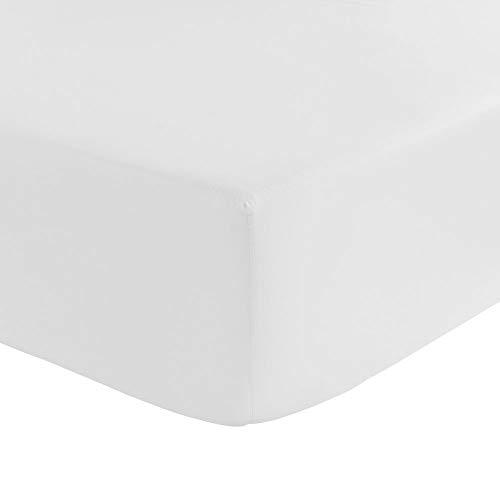Cflagrant - Sábana bajera 100% algodón, ultra suave, de alta gama, especial colchón grueso de hasta 30 cm (blanco, 90 x 190 x 30 cm)