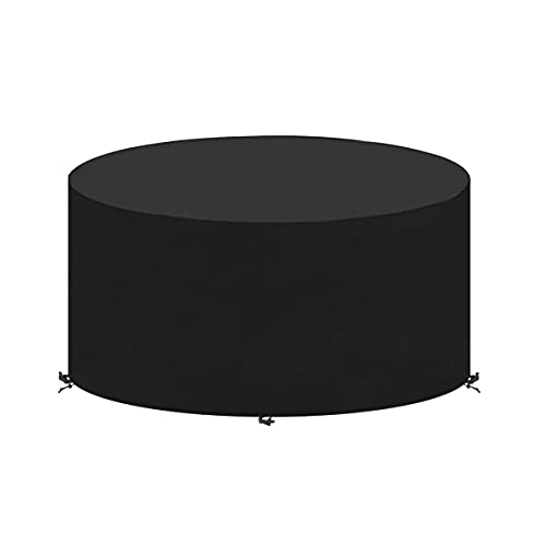 SanGlory Garden Table Covers Round Garden Furniture Cover Waterproof Circular Patio Table Cover with 4 Buckles, Windproof, UV Resistant Oxford Fabric Outdoor Furniture Covers 160x71cm