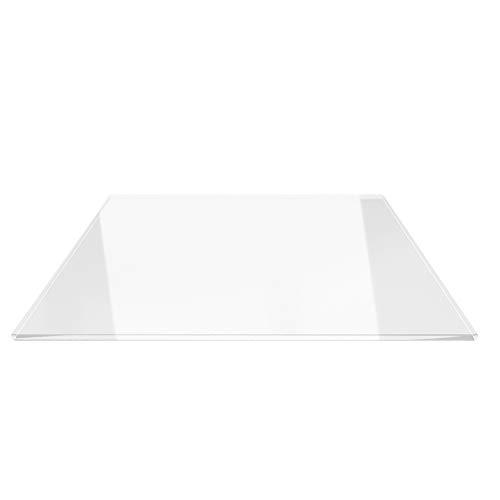 Saisonplatte Rechteck 90x55cm - Kamin-Vorlegeplatte Funkenschutzplatte Klarglas Kaminbodenplatte Glasplatte Kaminofenunterlage Ofenplatte (Rechteck 90x55cm - mit Silikon-Dichtung)