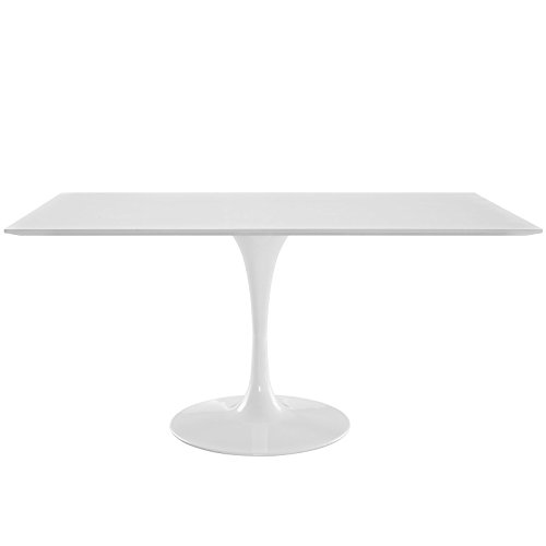 Modway Lippa Mid-Century Modern Rectangle Dining Table with Pedestal, 60', White Base