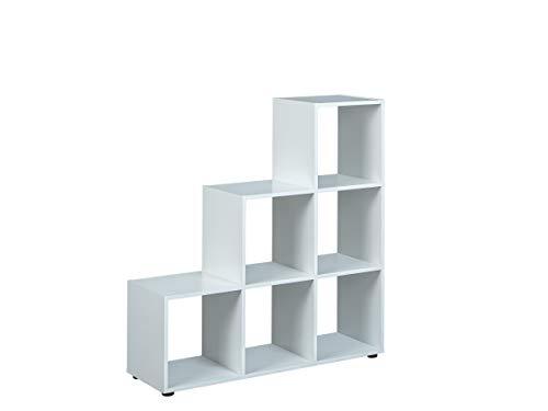 Inter Link Raumteiler Regal Trennwand MDF Weiss Modern 6 Fächer Wohnzimmer Esszimmer Schlafzimmer