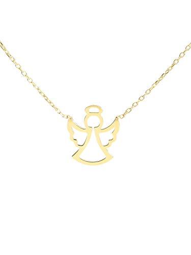 MyGold Engel Halskette Collier Gelbgold 375 Gold (9 Karat) Schutzengel Kette 38cm Goldkette Engelskette Milva L-01381-G601-AK10-F38cm