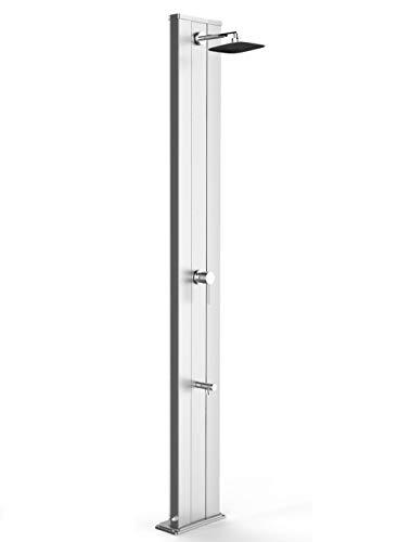 Regendusche für den Außenbereich Dada S Diritta aus eloxiertem Aluminium Solardusche mit Mischbatterie und Waschbecken, Tank 40 Liter, Höhe 229 cm